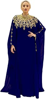 Athena Kaftan for Women - 100% Chiffon - Adjustable Hidden Waist Strap (Navy Blue)