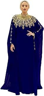 Athena Kaftan for Women - 100% Chiffon - Adjustable Hidden Waist Strap (Navy Blue)