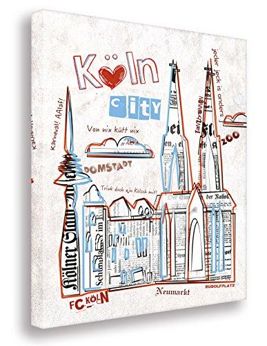 Köln Collage auf Leinwand/Kunstbilder- Kunst Druck auf Leinwand - vom Kölner Künstler/Wandbilder Art Gemälde Kunstdrucke (30x40cm)
