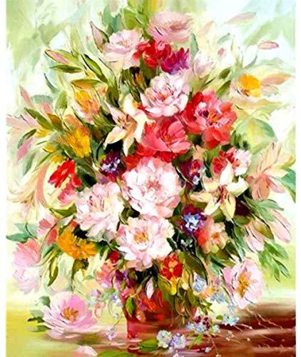 Schilderen door cijfers voor volwassenen Canvas Mooie Vaas met Bloemen DIY Olieverfschilderij Cadeaukits Pre-Printed Canvas Art Home Decoratie 16 * 20 Inch Frameless Gift