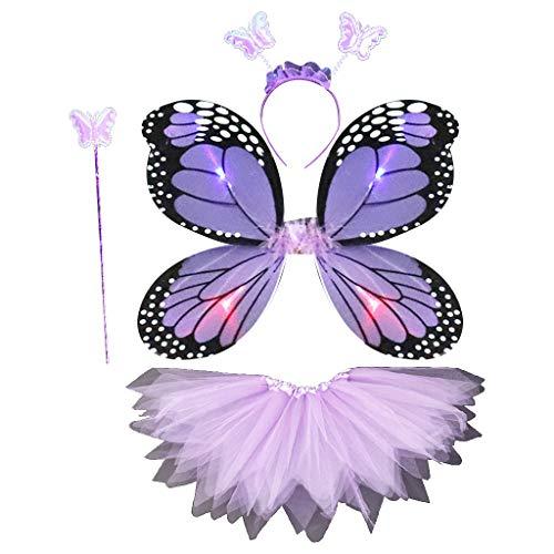 Siwetg - Disfraz de hadas para adultos y niños de 4 piezas, con alas de mariposa con luces LED, tutú, cinta para el pelo y varita mágica