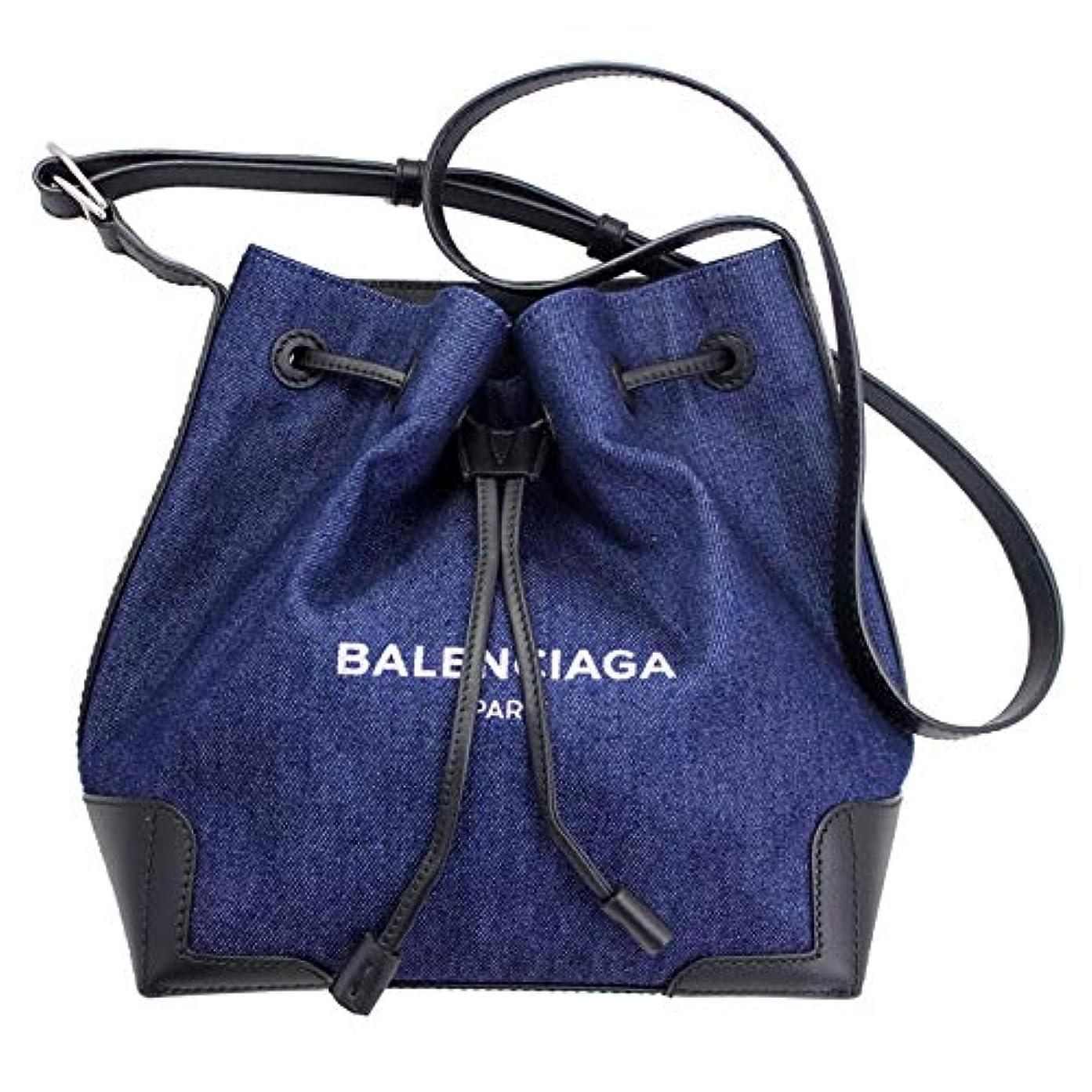 ハプニング温度計敵BALENCIAGA(バレンシアガ) 斜め掛けショルダーバッグ ネイビーバケット デニムブルー ポーチ付き 409000 50800