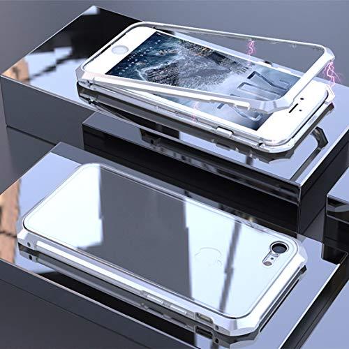 Wckxy Caso del teléfono Ultra Slim Magnetic Adsorción de Marco Angular Imán de Vidrio Templado Funda para iPhone 8 y 7 ST (Color : Color3)