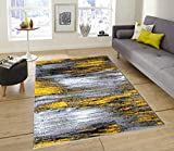 """Champion Rugs Modern Contemporary Rugs for Living Dining Room Abstract Brush Stripes Yellow Grey Black Area Rug (5' 3"""" X 7' 5"""")"""