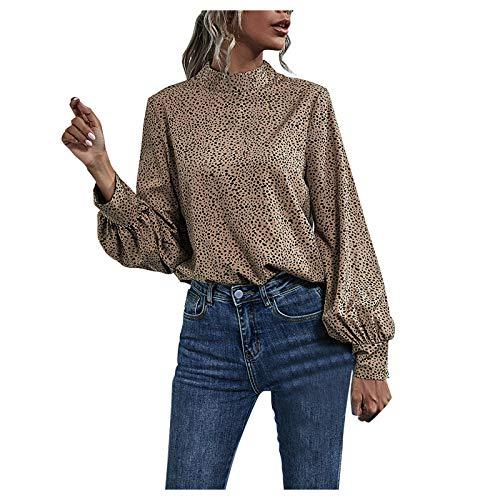 URIBAKY - Blusa y blusas para mujer, diseño de leopardo marrón S