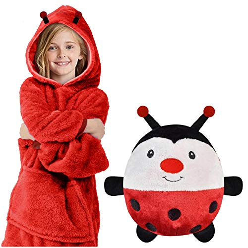 heekpek Blanket Sweatshirt à Capuche avec Poche Grande Animaux en Peluche Pyjama Sweat Peluche Sweat à Capuche Enfant Garçons et Filles
