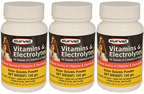 Durvet 3 Pack of Vitamins and Electrolytes for All Classes of Livestock and Poultry, 100 Grams Each