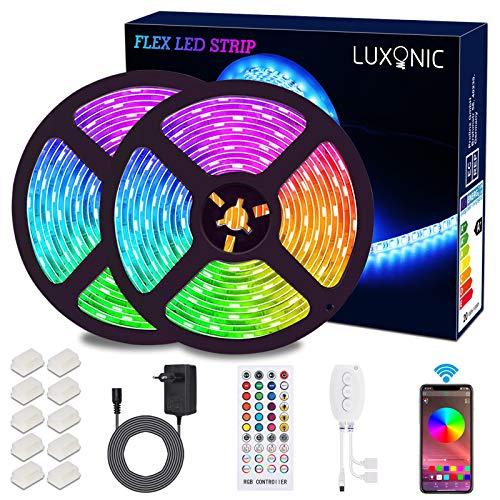 Tiras de luz LED Bluetooth, LUXONIC 5050 RGB 2x5 metros...