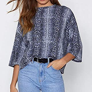 QGT Clothing Casual Round Neck Snake Print Seven-Point Sleeves Chiffon Shirt, Size: XL(Blue) (Color : Blue, Size : L)