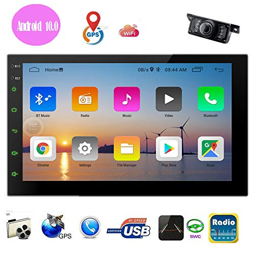 Double Din Android 10.0 Car Stereo 2 Din Car Multimedia Radio GPS Navigation Capacitive Touch Screen in Dash Bluetooth Video Player Autoradio with WiFi USB Mirrorlink 1080P + Rearview Camera