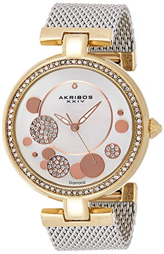 Akribos XXIV Ornate Women's Swarovski Watch - Mother of Pearl Center Dial, Crystal Filled Bezel On Stainless Steel Mesh Bracelet - AK881