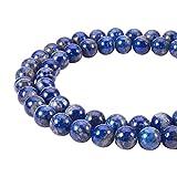 PandaHall Elite – Aproximadamente 48 unidades de hilo de 8 mm de perla de lapislázuli natural perla redonda grado con cuerdas de perlas para pulsera collar DIY joyas, rojo, agujero: 1 mm