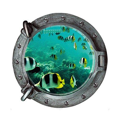 VORCOOL Peces 3D Pegatina de Pared Falsas Submarino Ventana Mundo Submarino Home Decor Calcomanías Pared de PVC Wallpaper Habitación de los Niños 43 * 43 CM