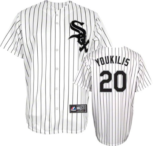 Majestic MLB Youth Chicago White Sox Kevin Youkilis Home Replica Baseball Jersey WhiteBlack Pinstripes Large