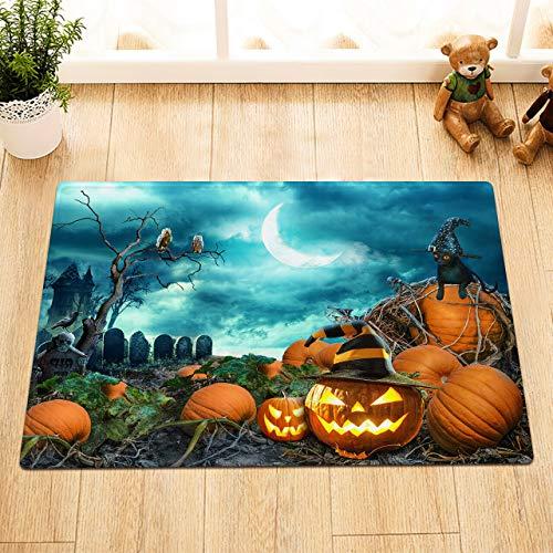 /N Horror Halloween Night Pumpkin Field Tombstone Cortina de Ducha Ganchos Colchoneta de baño