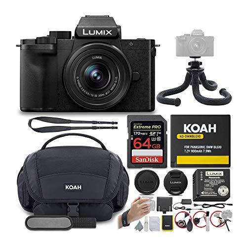 Panasonic DC-G100KK LUMIX G100 4K Mirrorless Vlogging Camera with 12-32mm Lens, 64GB SD Card, Koah Nostrand Gadget Bag Kit, Koah Extra Battery, and Koah Kanguru 12in Flexible Tripod Bundle (5 Items)