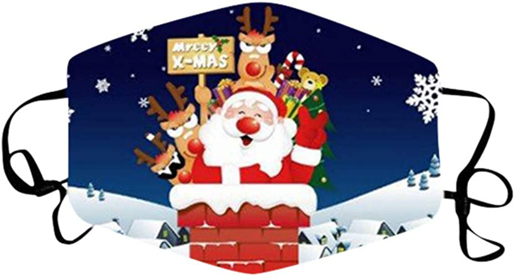 WooCo Christmas Print Face_Masks, Santa Claus,Mouth Cover Reusable Washable, Protection Balaclava