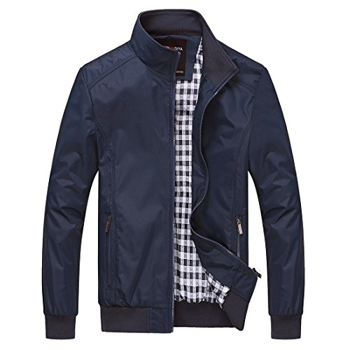 Nantersan Mens Casual Jacket Outdoor Sportswear Windbreaker Lightweight Bomber Jackets and Coats,Large,Jk025 Navy