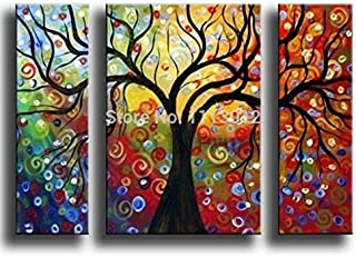 DIU 100% Hand Painted 3 Pcs Set Abstract Tree of Life Oil Painting On Canvas Picture Home Wall Decoration Art Modern For L...