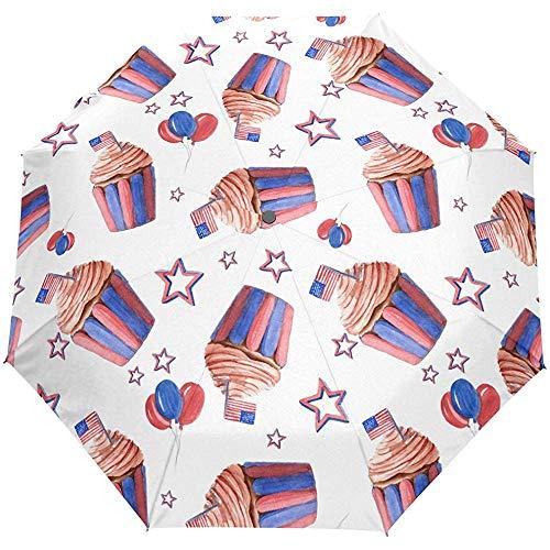 Amerikanischer Geburtstags-Schalen-Kuchen Stars Stripes Auto Open CloseRegenschirme Anti UV Folding Compact Automatic Umbrella