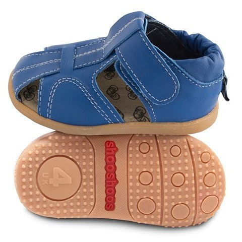 Shoo Shoos–Zapatitos of Skin Hard Sole, Size 19, Style Sandals Blue