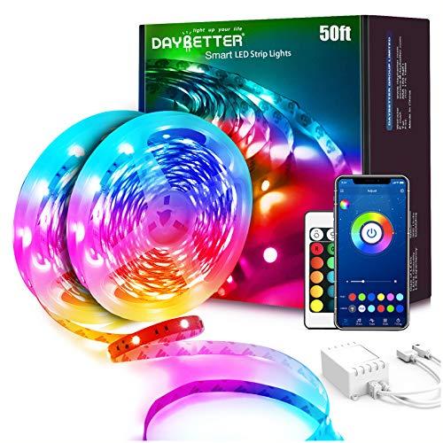 Daybetter LED-Lichter, 15,2 m, 2 Rollen mit 7,6 m RGB-LED-Lichtstreifen mit Fernbedienung, App-Steuerung, Musik-Synchronisierung, Bluetooth-Fernbedienung, mehrfarbiger Farbwechsel, bunte LED-Lichtstreifen für Schlafzimmer