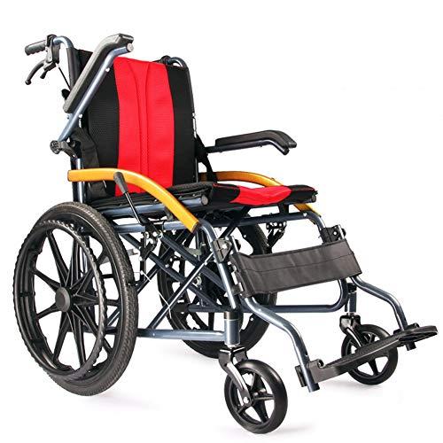 L-LIPENG Rollstuhlleichter Klapprollstuhl aus Kohlenstoffstahl Anti Lean Sicherheitsgurt Rutschfestes FußPedal Pannensichere Bereifung mit Handgriffen zum Bremsen Tragbarer Transportstuhl,Rot
