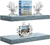 Sorbus Floating Shelf Set — Rustic Wood Coastal Beach Style Hanging Rectangle Wall Shelves for Home Décor, Trophy Display, Photo Frames, etc (Rectangle Shelf Set - Blue)