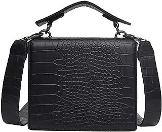 Waymine Women's Shoulder Bag Vintage Solid Crocodile Pattern Handbag Slung Small Square Coin Phone Bag