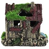 Aquarium Haus Harz alte Haus Fische Garnelen Nest Beflockung Höhle mit Moos für Aquarium Ornament