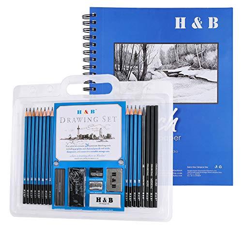 Juego de lápices de dibujo y bloc de dibujo con borrador y sacapuntas de lápiz 27 piezas, juego de arte profesional, cuaderno de bocetos de grafito (8B-2H)