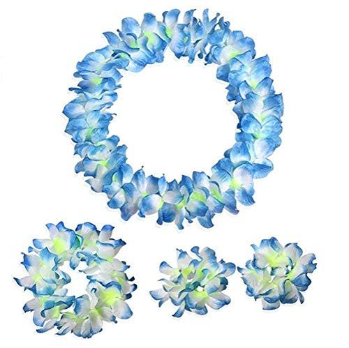 NFACE Hawaiian Luau Blume Leis Jumbo Halskette Armbänder Stirnband Set Blau