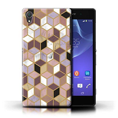 Stuff4® hoes/case voor Sony Xperia Z2 / geometrische blokjes patroon/geometrisch marmer patroon collectie