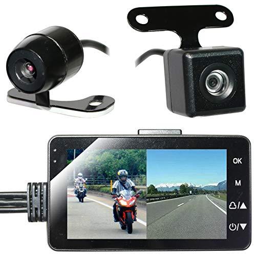 CHURACY バイク用 ドライブレコーダー 前後 カメラ 3インチ液晶 常時録画 オートバイ ドラレコ