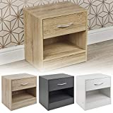 URBNLIVING 1 Drawer Compact Wooden Bedroom Bedside Cabinet Furniture Nightstand Side Table (White)