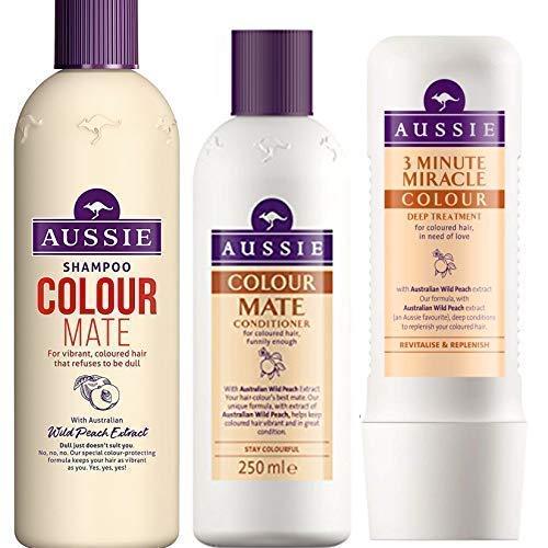 Aussie Couleur Mate Trio Shampooing 300ml + Après-shampooing 250ml + 3 Minute Miracle Couleur Traitement en Profondeur 250ML