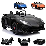 Lamborghini CARS12V Coche electrico 12 V para niños AVENTATOR, monoplaza, Mando Parental, Puertas Verticales, Asiento Polipiel, Ruedas EVA. Color Negro