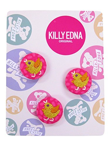 KILLYEDNA(キリィエドナ) 刺繍くるみボタン キリーズマーブル 3個セット20mm 黄色のひよこ