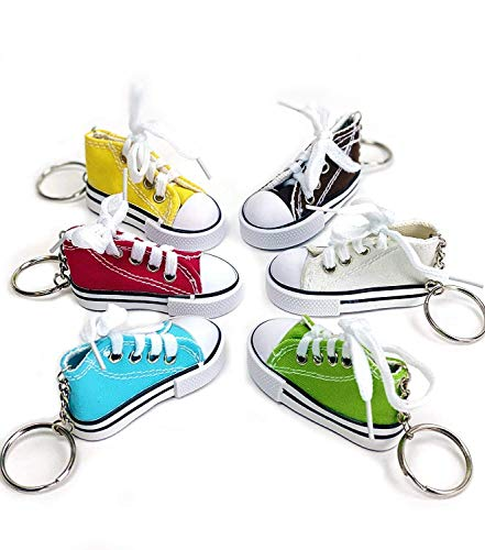 Preisvergleich Produktbild Praknu 12 Schlüsselanhänger Sneaker mit Schnürsenkel - echt wirkend - Bunt - inkl. Schlüsselring
