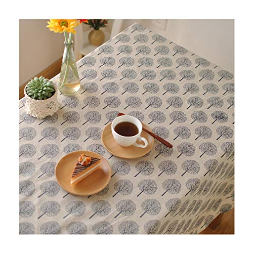 KnSam Tablecloth Rectangle Cotton, Table Cloth Heat Resistant 120x120CM Plants Tree Tablecloth 4 Foot Table Navy