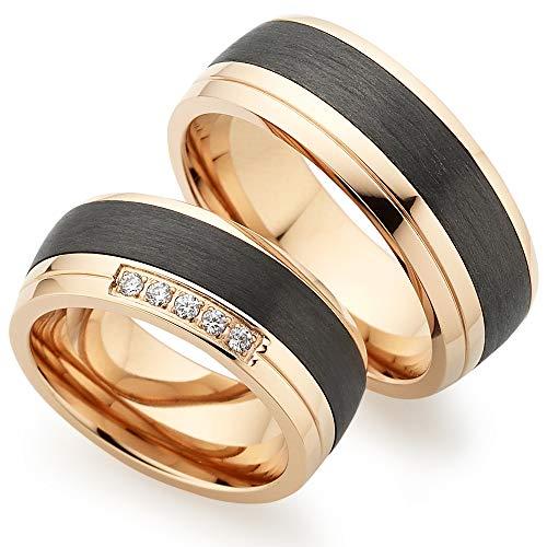 Edles Titan Rosè/Carbon in Juwelier-Qualität mit Zirkonia ***ZUM PAARPREIS*** von 123traumringe / 2x Trauringe/Eheringe (Gravur/Ringmaßband/Etui)