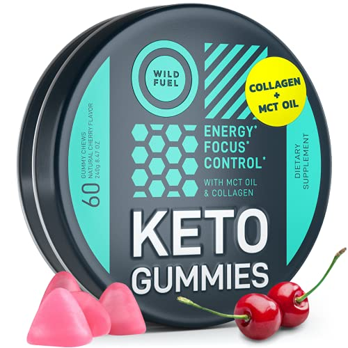 Keto Candy MCT Oil Gummies with Collagen - Physical and Mental Energy and Focus - Wild Fuel Low Carb Gummies for Pre Workout - 60 Cherry Flavor Gummy Fruit Chews