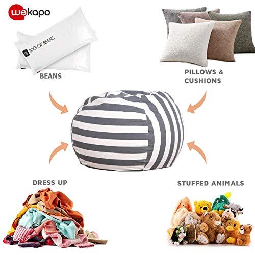 WEKAPO Stuffed Animal Storage Bean Bag Chair Cover for Kids   Stuffable Zipper...