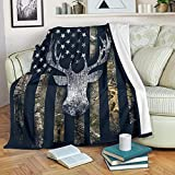 DongDongQiang USA Camo Buck Deer Flag Fleece Blanket Throws,Super Soft Cozy Warm Blanket for Couch Chair Bed Sofa Office,60'X80'for Adult