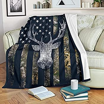 DongDongQiang USA Camo Buck Deer Flag Fleece Blanket Throws,Super Soft Cozy Warm Blanket for Couch Chair Bed Sofa Office,60 X80 for Adult