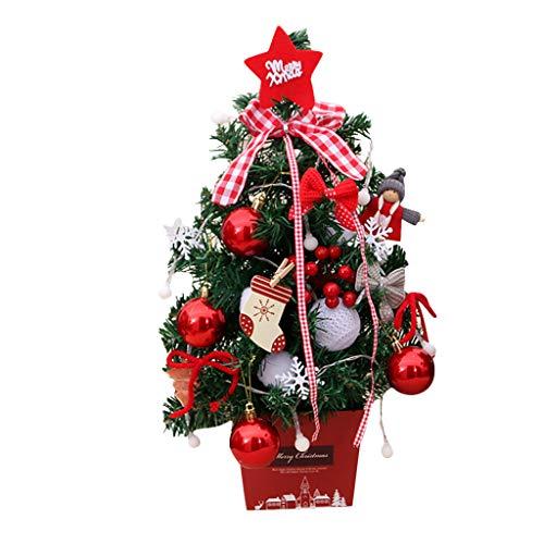 Zuhause Weihnachtsdeko Weihnachtsbaum mit Beleuchtung Funkelnde Anhänger Festliche Büros Klassenzimmer Tischdeko Tannenbaum Mini-LED- Stimmungslicht Weihnachtsschmuck Fotografie Requisiten (rot)