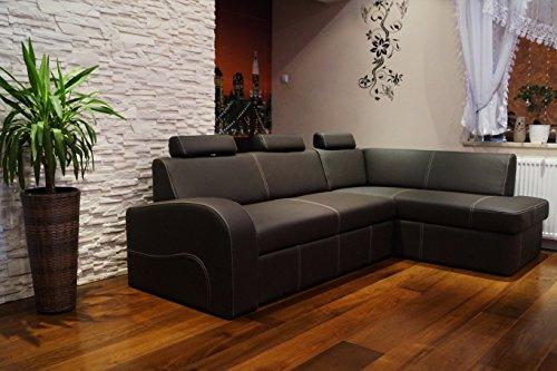 Quattro Meble hoekbank Antalya II 3z 245 x 164cm donkerbruin echt leer met crème siernaad sofa bank met slaapfunctie, bedkast en hoofdsteunen hoekbank echt leer Toledo Caffe