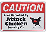 Monifith Funny Rooster Crossing Sign Caution Area Patrolled by Chicken Sign Road Street Signs 8X12 Inch