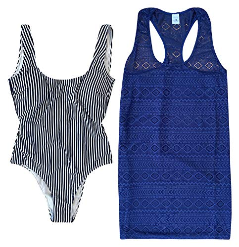Women's Blue Stripe One Piece Swimsuit and Matching Coverup Swimsuit Bathing Suit Bathingsuit Set Large