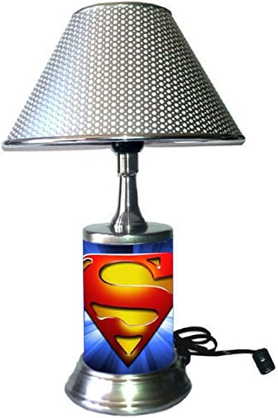 Superman Symbol Lamp With Silver Colored Shade Logo